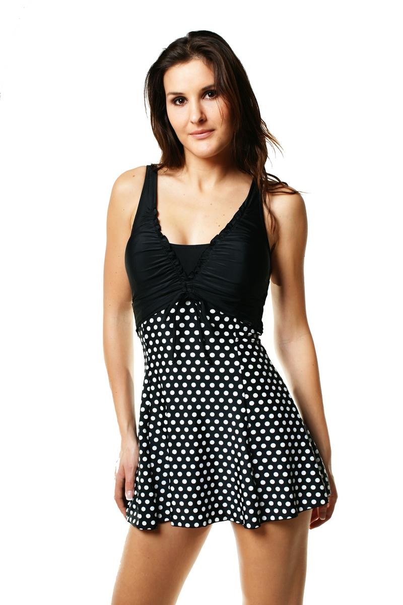 maillot de bain femme robe de plage noir et blanc 1306. Black Bedroom Furniture Sets. Home Design Ideas