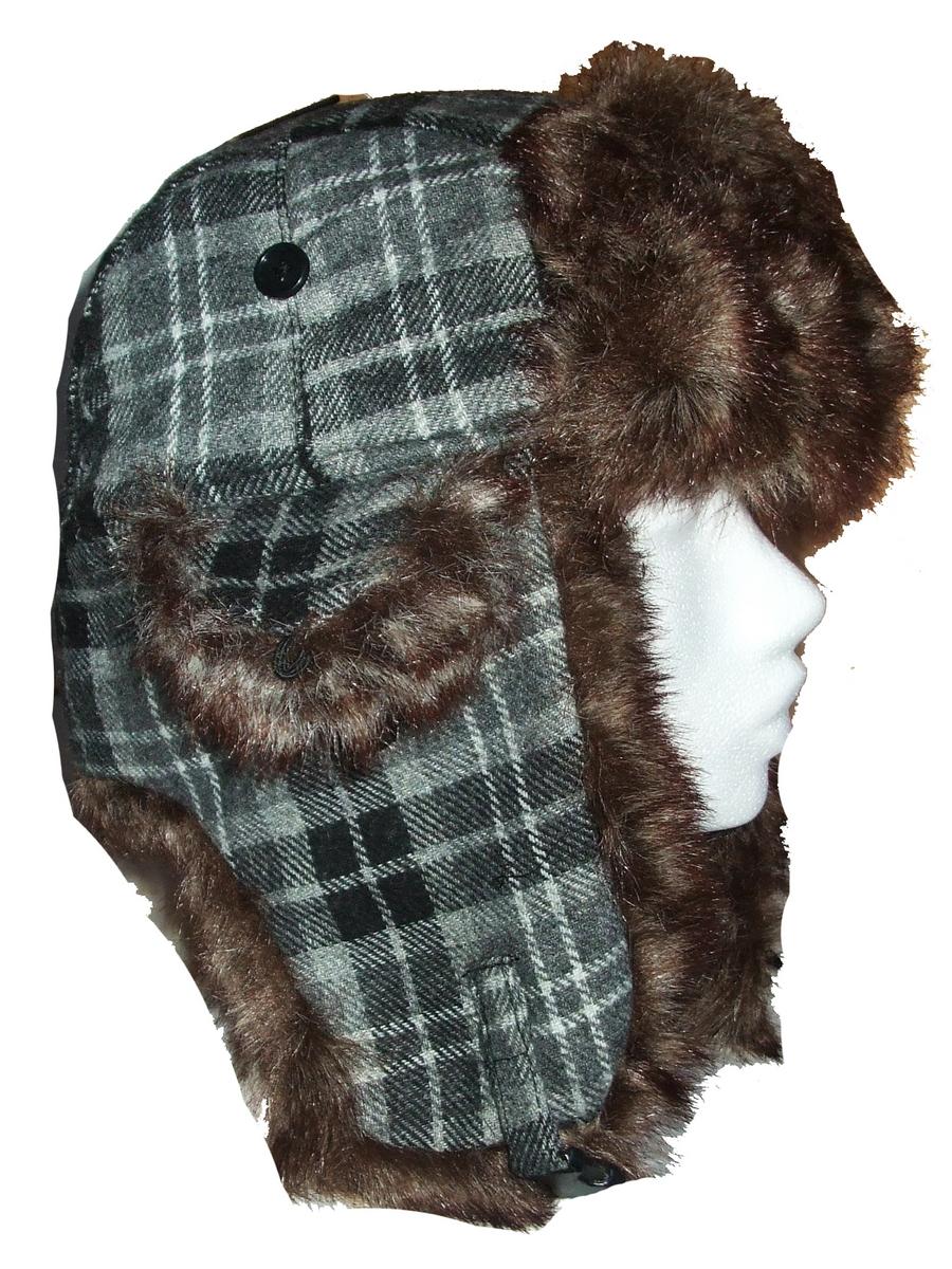 chapka fourrure tartan noir gris chapkag accessoires de mode pour toutes les. Black Bedroom Furniture Sets. Home Design Ideas