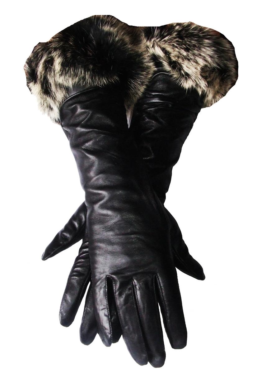 gants femme en cuir noir et fourrure lapin longs. Black Bedroom Furniture Sets. Home Design Ideas