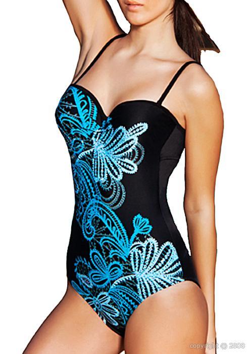 maillot de bain femme monokini armature noir et bleu. Black Bedroom Furniture Sets. Home Design Ideas