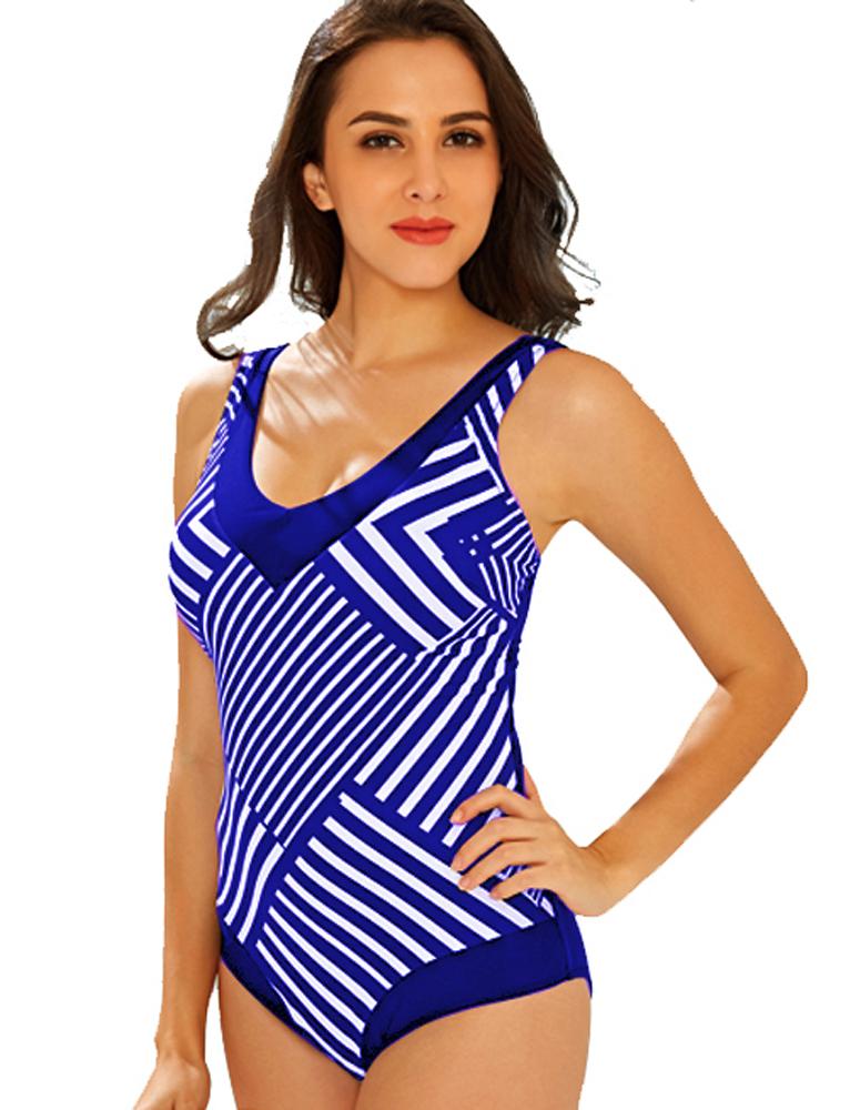 Maillot de Bain Femme 1 Pièce Monokini Graphique - Bleu Taille 42 collections 3nfQah