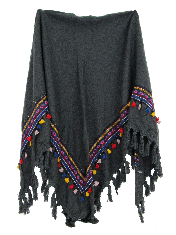 Echarpe Chale Triangle Grand Foulard Femme Gris Mode Motifs Pompons Azteque 4fee8ca1fcf