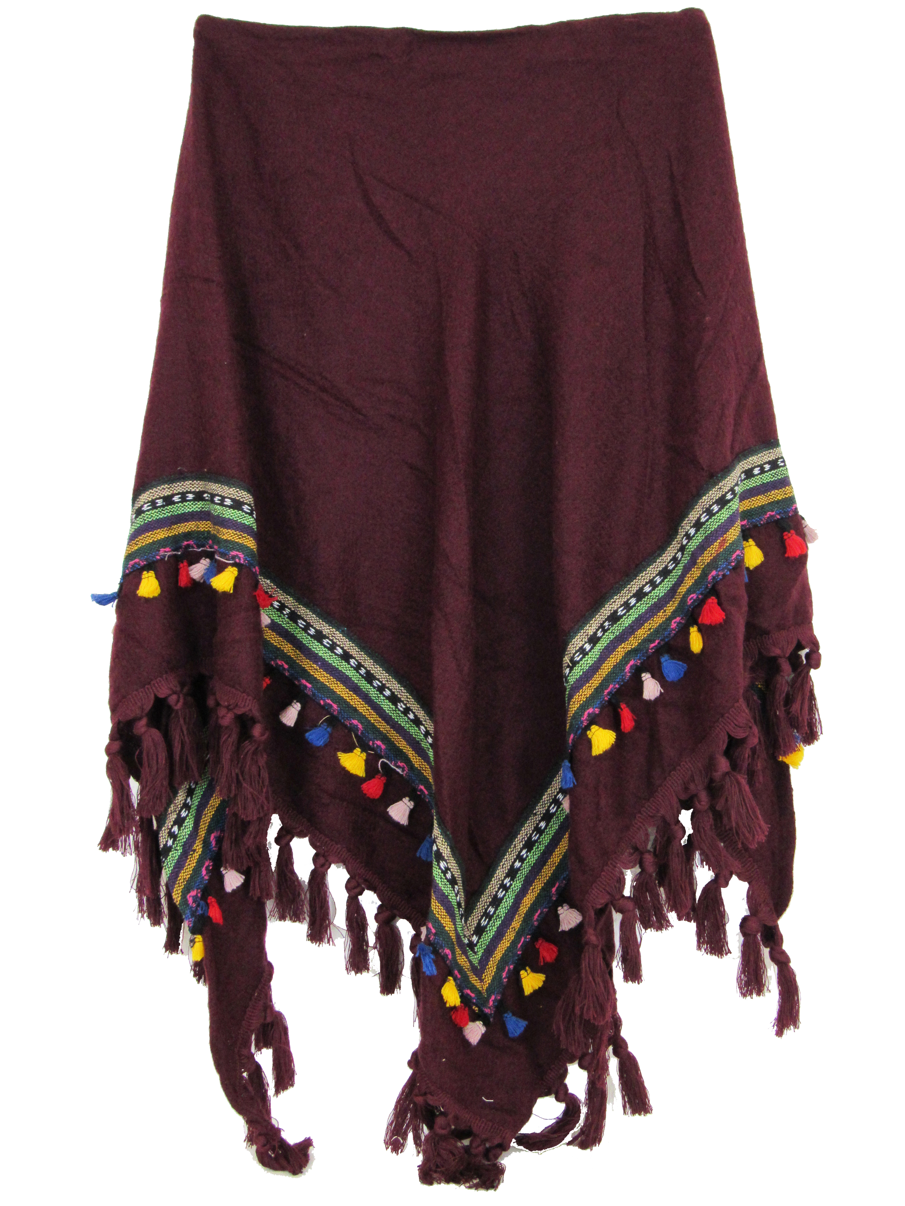 2ddcbbab654a Echarpe Chale Triangle Grand Foulard Femme Rouge Mode Motifs Pompons Azteque
